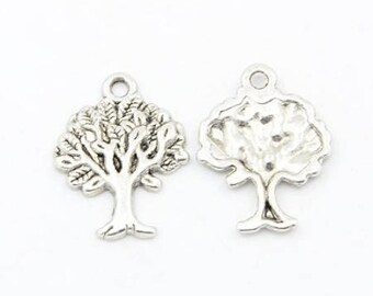 10 charms 22 mm tree of life silver antique