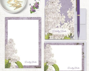 complete personalized stationery set - GRANDMA'S LILACS in PURPLE - note cards - notepad - custom stationary - stationery gift set