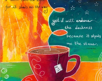 Orange Green Red Tea Cup and Saucer Words -022-Mixed Media Painting by Carianne James
