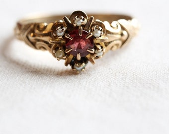 Antique 10k Rose Gold Ring, Garnet & Seed Pearls Cluster Ring, Victorian Ring, Engagement Ring, Vintage Ring, Circa 1860's, Size 7-1/4-R0123