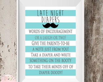 Mustache theme Late Night Diapers Game Sign, Blue Striped Late Night Diapers Game, Diaper Thoughts Game Sign, Baby Shower Game, Printable