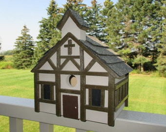 Church Birdhouse, Chapel Bird House, Medieval Style, Outdoor Wood Birdhouse, French-Canadian Church Birdhouse, Mission Chapel Birdhouse