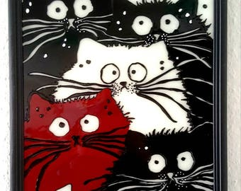 Cat cats. Original handmade Gala screen with glass paint.
