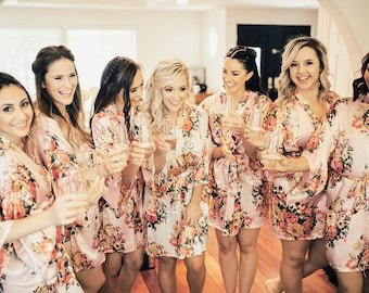 Floral Bridesmaid Robes Set of 8 Set of 9 Set of 6 You CHOOSE QTY Floral Bridesmaid Robe Blush Pink & More Colors Floral Bride Robe (EB3152)