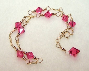 Pink Crystal Anklet for Women Adjustable Gold Chain Ankle Bracelet Pink Crystal Jewelry Gifts for Her