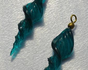 Teal Twist glass bead with loop