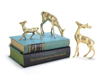 3 Vintage Brass Spotted Deer Stag Doe - Hollywood Regency Christmas Wedding Decor - Fireplace Mantel Woodland Animals Mid Century Buck