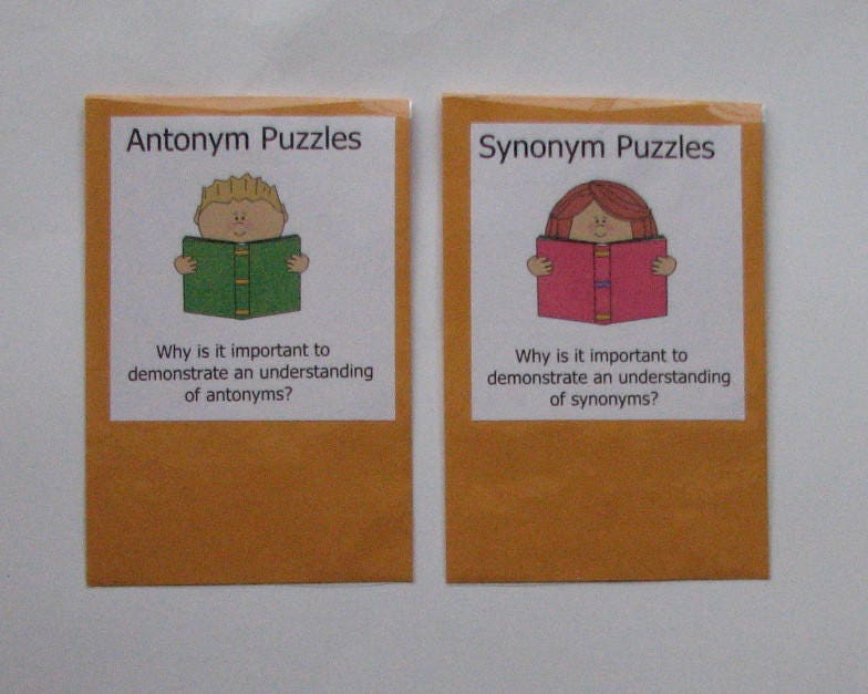 2 Teacher Made Literacy Center Resource Games Synonyms &