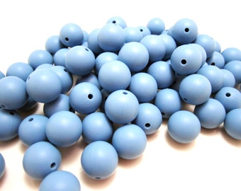 12mm - Lot of 10 Powder Blue Loose Silicone Beads
