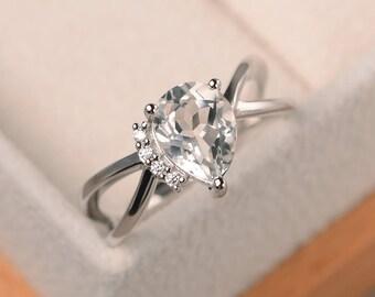 Natural white topaz ring, wedding ring, pear cut gemstone, sterling silver ring, November birthstone