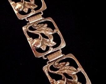 Vintage Sterling Ornate Branches and Fruit Bracelet