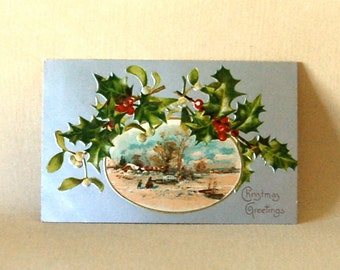 Vintage Christmas Postcard, Holly & Mistletoe Bordered Snow Scene, with Silvery Background