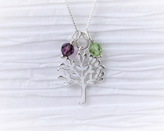 Tree of life necklace with Swarovski birthstones 925 sterling silver, family necklace, birthday gift for grandma, Mother's Day gift for mom