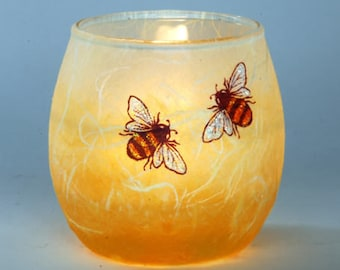 Bee candle holder small-lovely gift - decorated strawsilk glass candles