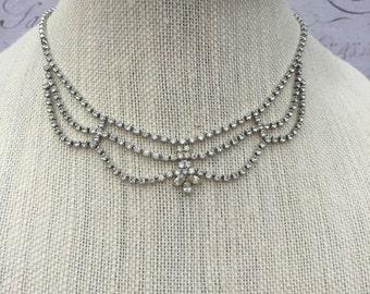 Beautiful Rhinetone Necklace, Elegant Estate Jewelry, Wedding Accessory