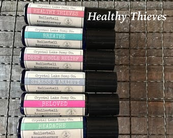 HEALTHY THIEVES Rollerball Aromatherapy Essential Oil Blend Organic / Cinnamon Clove Eucalyptus Lemon & Rosemary