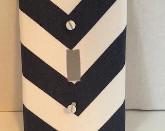 Navy chevron switch plates