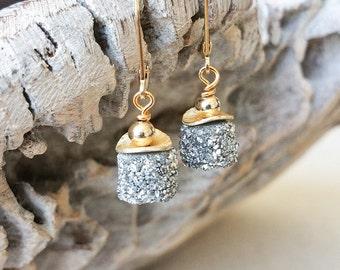 Raw Druzy Earrings, Boho Raw Druzy Earrings, Raw Stone Earrings, Druzy Jewelry, Gemstone Dangle Earrings, Birthday Gift for Women