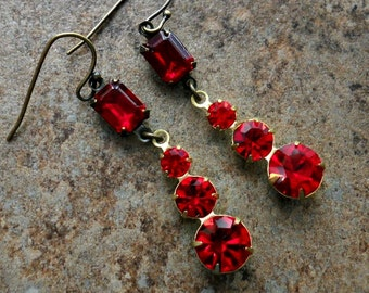 READY TO SHIP Swarovski Ruby and Siam Red Earrings in Brass, One-of-a-Kind Swarovski Rivoli Earrings