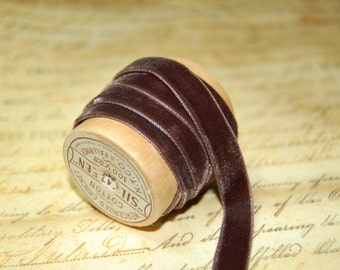1/4 inch Chocolate Fudge Brown Velvet Ribbon