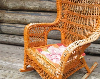 Wicker Rocking Chair Shabby Chic Rocker Patio Porch Arm Chair Furniture Country Farmhouse Orange Painted Rattan Boho Rocking Large Armchair