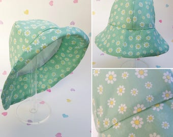 Girls Sun Hat, Daisy Flower Print, Cotton, Hat, Girls Clothing, Spring, Summer Wear, Fun Children's Hats, Girls Accessory, Summer Holiday