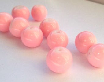 Pink painted glass (T) 10mm 10 beads