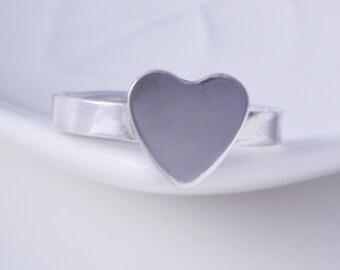 Sterling silver heart ring handmade band ring 925