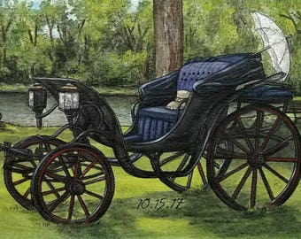 Custom Watercolor Painting, Custom Watercolour Portrait, Antique, Carriage, Custom Order, Custom Art, Custom Portrait Painting, Wedding Gift