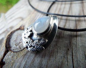 Moonstone Pendant Silver Necklace Handmade Sterling 925 Gemstone Stone Bohemian Jewelry Protection