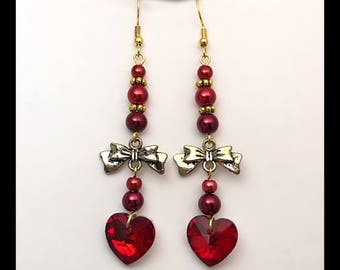 Earrings heart 'Ruby '.