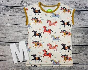 Tshirt Mädchehnshirt horse horse pony Indian mustard Boho hippie cut sleeve short sleeve gift Kids wax Shirt Shirt