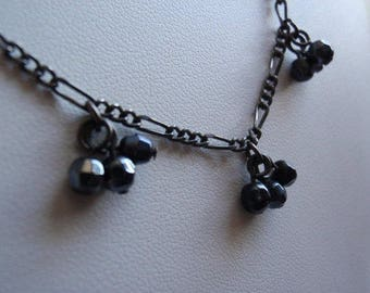 Black Beaded Necklace Goth Thin Dainty Vintage Estate