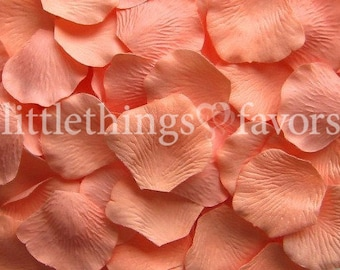 Coral Peach Rose Petals, Silk Rose Petals, Fake Rose Petals, Microfiber, wedding decorations, petals for wedding aisle runners, flower girl