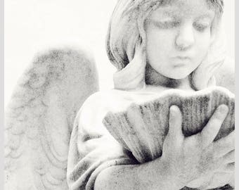 Cemetery Angel Statue Postcard, art photography, cemetery art, black and white