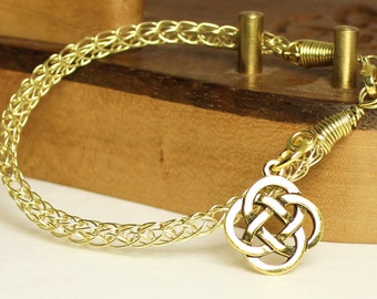 Chain bracelet with Celtic knot charm, knit brass handcrafted artisan jewelry, unique gift for women, Viking knit bracelet