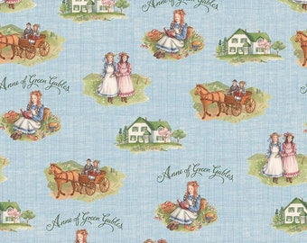 """SALE Anne of Green Gables Main Blue - Riley Blake Designs - Penny Rose Fabrics - Quilting Cotton Fabric - 13"""" end of bolt"""