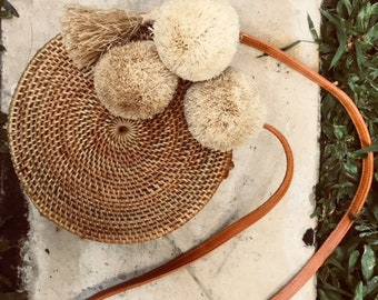 Handwoven Balinese Round Rattan Bag With Pompom & Tassel