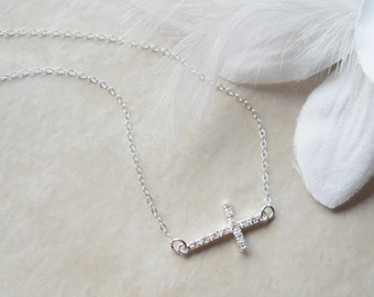Sideways Cross CZ Necklace All Sterling Silver N068