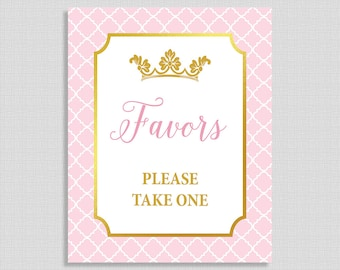 Princess Favor Sign, Pink and Gold Baby Shower Sign, Princess Baby Girl Favor Sign, INSTANT PRINTABLE