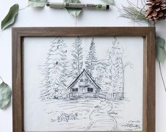 Dreamy Cabin Ink Sketch