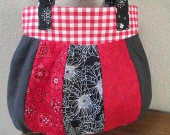 Red & Black Crazy Quilt Bag