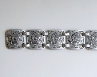 1940s hammered aluminum Indian head link bracelet / rare 40s vintage WWII metal bracelet / Native American Indian chief retro silver