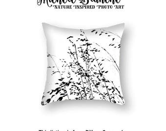 Zen Black White Pillow Cover, Abstract Grasses Pillow Case, Nature Grass Art Throw Pillow, Modern Black White Photo Image Pillow and Cover