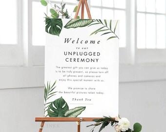 Tropical Unplugged Wedding Sign, Unplugged Ceremony Sign Printable, Unplugged Sign, Unplugged Wedding PDF - (Item code: P1062)