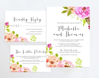 Printable Wedding Invitation Suite, Floral Wedding Invitation, Rustic Formal Wedding Invitation, Floral Wedding Invitation Set