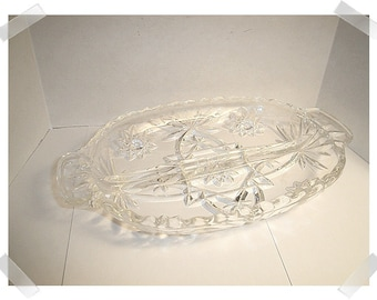 Pressed Glass Condiment Dish with handles/ Single OR Set of 2/Vintage*