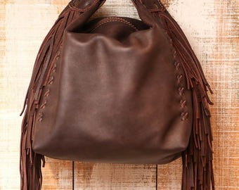 Chocolate brown leather bag, soft leather handbag, fringes brown purse, fringed evening bag, small leather purse, available in many colors