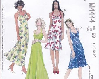 FREE US SHIP McCall's 4444 Laura Ashley Halter Dress Ankle Length Uncut Designer Sewing Pattern 8 10 12 14   Bust 31 32 34 36  New