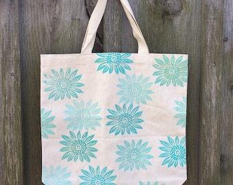 Block Printed Turquoise Sunflower Canvas Tote